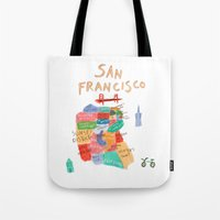 san francisco map Tote Bags featuring map of san francisco by sarah green