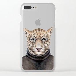 J is for a Jaguar Just Hangin' Out | Watercolor Jaguar Clear iPhone Case