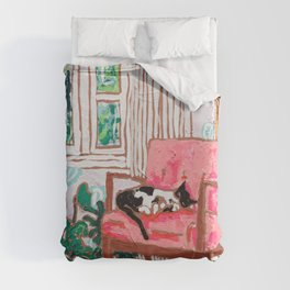 Little Naps - Tuxedo Cat Napping in a Pink Mid-Century Chair by the Window Duvet Cover