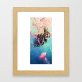 Sea Turtle and Jellyfish! Framed Art Print