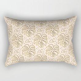 Gold Monstera on Cream Rectangular Pillow
