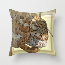 Chameleon Hanging On A Wire Fence Throw Pillow