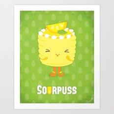 Sourpuss Lemon cake Art Print