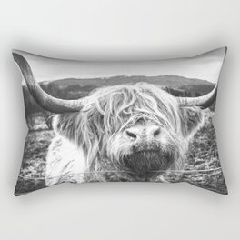 Highland Cow Nose Barbed Wire Fence Black and White Rectangular Pillow