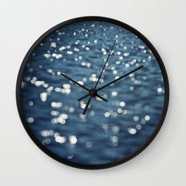 Water Sparkles Photography, Sparkly Ocean, Dark Sea Moonlight Wall Clock