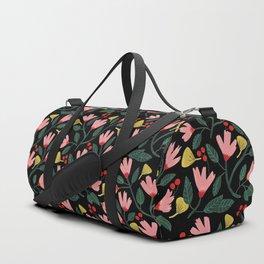 Pink Floral Pattern on Black Duffle Bag