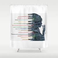 piano Shower Curtains featuring Piano by Veronika Neto
