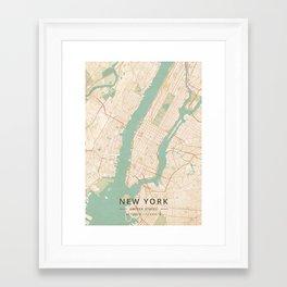 New York, United States - Vintage Map Framed Art Print