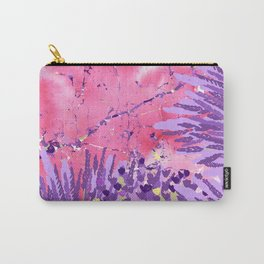 Modern violet lime green lavender pink marble floral Carry-All Pouch