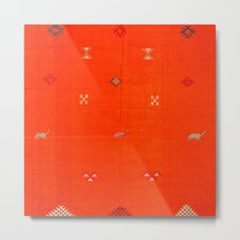 7 - Vintage Orange Anthropologie Moroccan Artwork. Metal Print