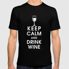 Keep Calm and Drink Wine Black Mens Fitted Tee MEDIUM