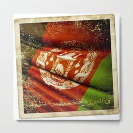 Grunge sticker of Afghanistan flag Metal Print