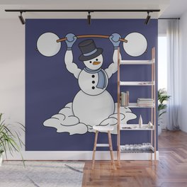 Weightlifting Snowman Wall Mural