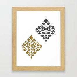 Scroll Damask Art I Gold & Grey on White Framed Art Print