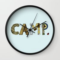 camp Wall Clocks featuring CAMP. by AnnieInk