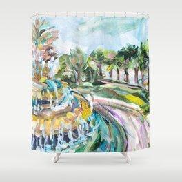 Charleston Pineapple Fountain Shower Curtain