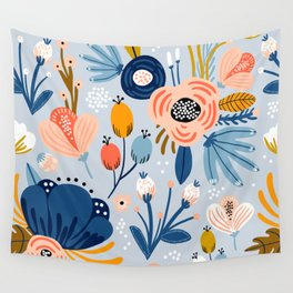 Mid-Century Modern Festival of Flowers Print Wall Tapestry