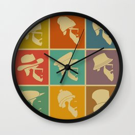 colorful Icons man in a headdress hat Wall Clock