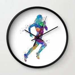 Girl Running Colorful Watercolor Sports Art Wall Clock