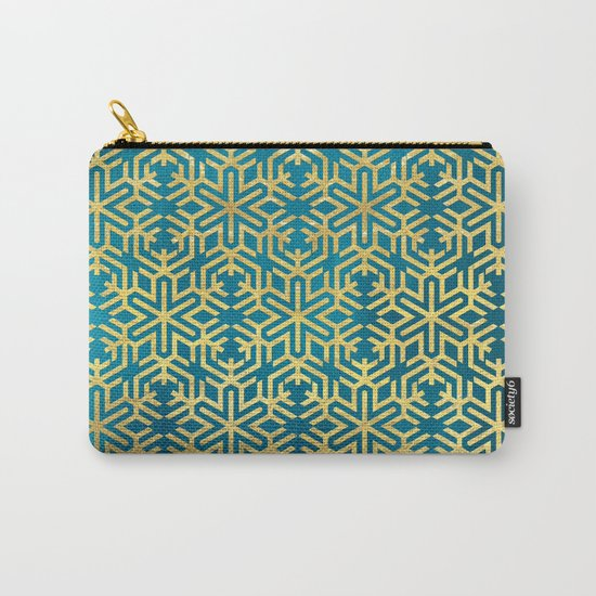 Turquoise and Gold Snowflake Pattern Carry-All Pouch