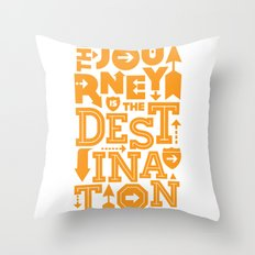 Orange Type Journey Quote  Throw Pillow