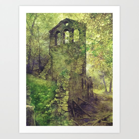Ruins in the forest Art Print