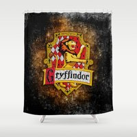 gryffindor Shower Curtains featuring Gryffindor team flag iPhone 4 4s 5 5c, ipod, ipad, pillow case, tshirt and mugs by Three Second