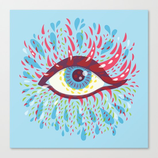Weird Blue Psychedelic Eye Canvas Print