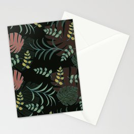 Abstract leaves seamless pattern on black background Stationery Cards