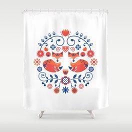 Scandinavian Folk Art Cute Fox Pattern Tee Shirt Shower Curtain