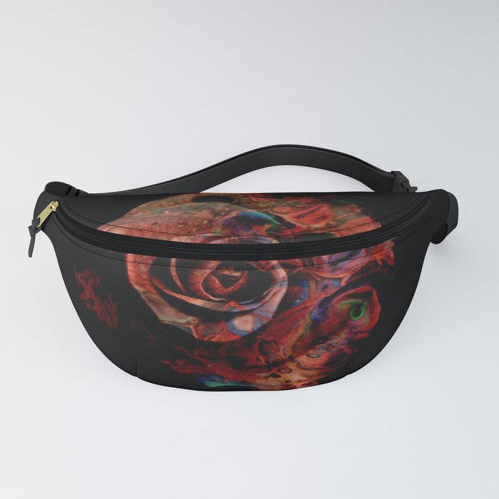 Fluid Nature - Marbled Red Rose Fanny Pack