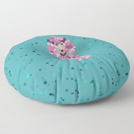 Fun Paint Splatter Poodle on Teal Floor Pillow