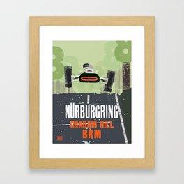 Graham Hill takes off at the Nurburgring.  Framed Art Print