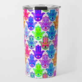 Bohemian Hamsas in White Travel Mug