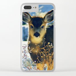 Blue Baby Deer in Winter Light by CheyAnne Sexton Clear iPhone Case