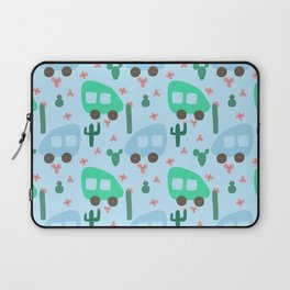 Camper Vans in Blue and Mint with Green Cactus and Pink Flowers Laptop Sleeve