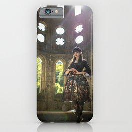 Gothic Lolita in sunny old abbey ruins iPhone Case