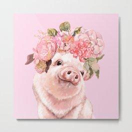 Baby Pig with Flowers Crown Metal Print