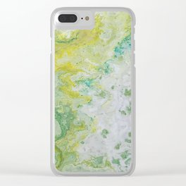 Lime Green Aqua Yellow Textured Abstract Clear iPhone Case
