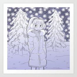 Starry Snow Scene Gal Art Print