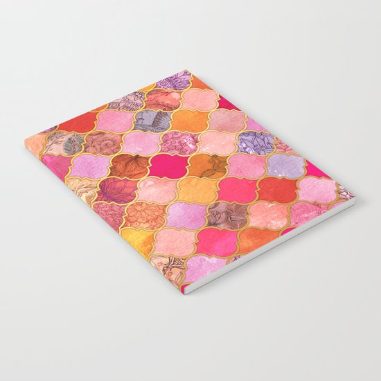 Hot Pink, Gold, Tangerine & Taupe Decorative Moroccan Tile Pattern Notebook