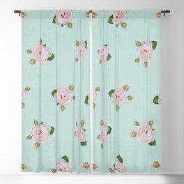 Vintage Pale Pink Roses on Aqua Blackout Curtain