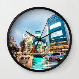Shibuya Crossing in the Rain Wall Clock