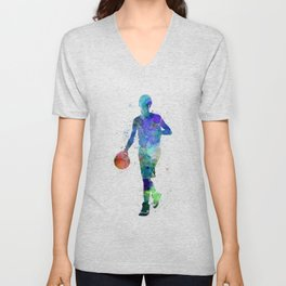 one young man basketball player dribbling silhouette in studio isolated on white background Unisex V-Neck