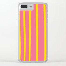 Pink and Yellow Stripes Clear iPhone Case