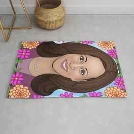 Kamala Harris portrait with dahlias Rug