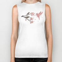 blossom Biker Tanks featuring Blossom Bird  by Terry Fan