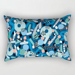 CIRCLES IN MOTION - GREEN/ BLUE brush stroke Rectangular Pillow