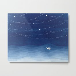 Follow the garland of stars, ocean, sailboat Metal Print