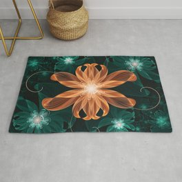 Alluring Turquoise and Orange Tiger Lily Flower Rug